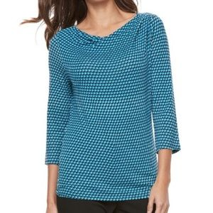 DANA BUCHMAN Blue Cowl Neck Stretch Top XL 💙💚